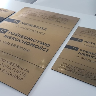 Gold laminate office plate